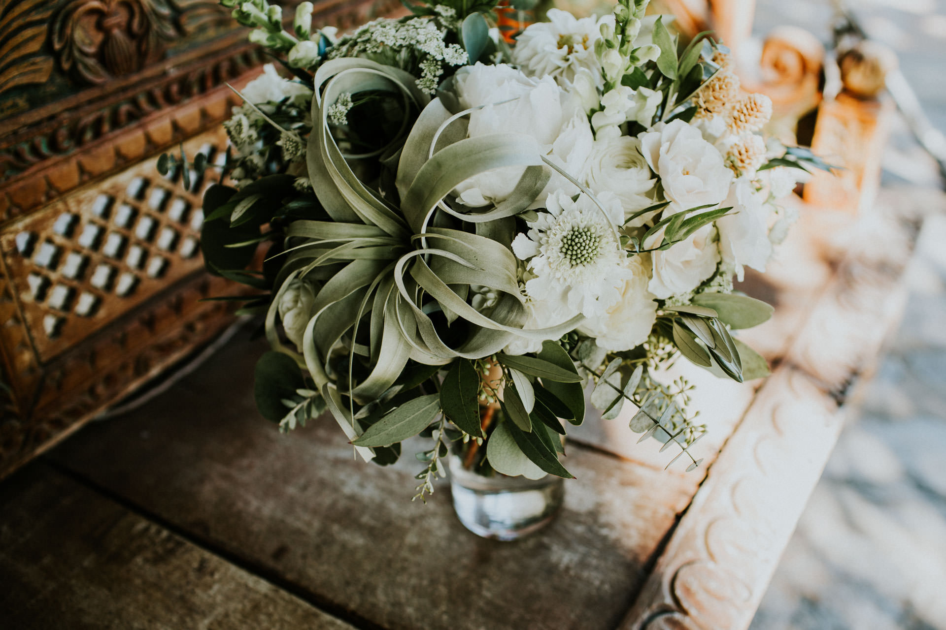 bridal bouquet with airplants and eucalyptus
